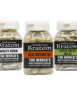 Kratom Capsules 1oz - Red Maeng Da - Super Green Malay - Whit Horn